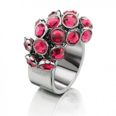 Swatch Bijoux Love Explosion Pink Crystals Ring Anillo