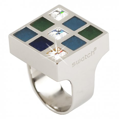 Swatch Bijoux Prismatic Blue And Crystals Ring Anillo