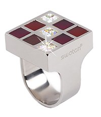 JRR0007-5 Prismatic Red And Crystals Ring