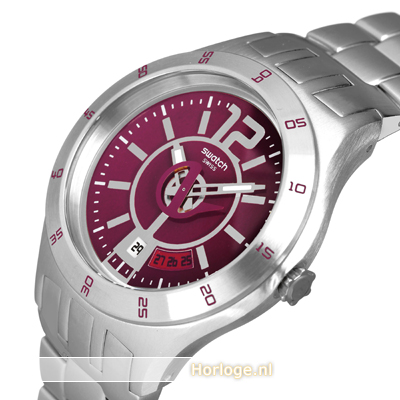 Silver-burgundy watch with date Coleccion otoño-Invierno Swatch